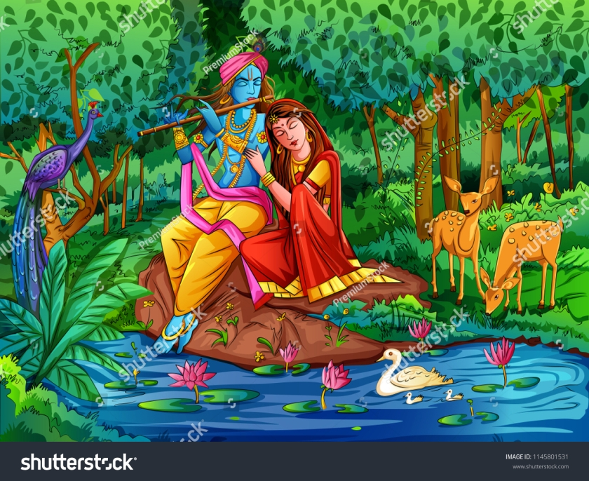 stock-vector-vector-design-of-lord-krishna-playing-bansuri-flute-with-radha-on-happy-janmashtami-holiday-1145801531